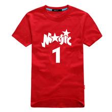 new men Magic 1 logo basketball t-shirt jersey male Tshirt cheap football skateball 6XL 5XL 4XL plus size loose tops tee cheap(China (Mainland))