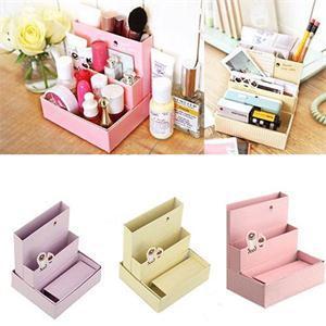2014 New SH Personality DIY Paper Board Storage Box Desk Decor Stationery Makeup Cosmetic Organizer HS(China (Mainland))