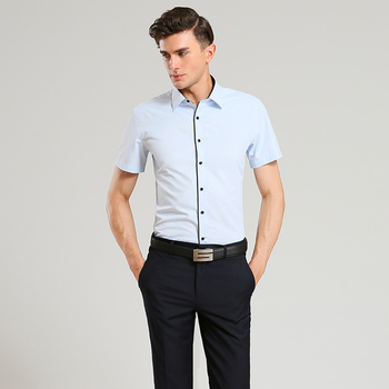 2015 Summer Style Men's Brand Clothes Turn-Down Collar Short Sleeve Shirts Mens Dress Shirts Slim Fit Solid Color Shirt For Men