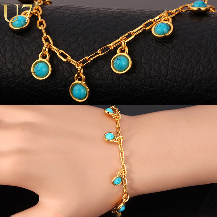 Buy u7 turquoise bracelet gold plated for Turquoise colored fashion jewelry