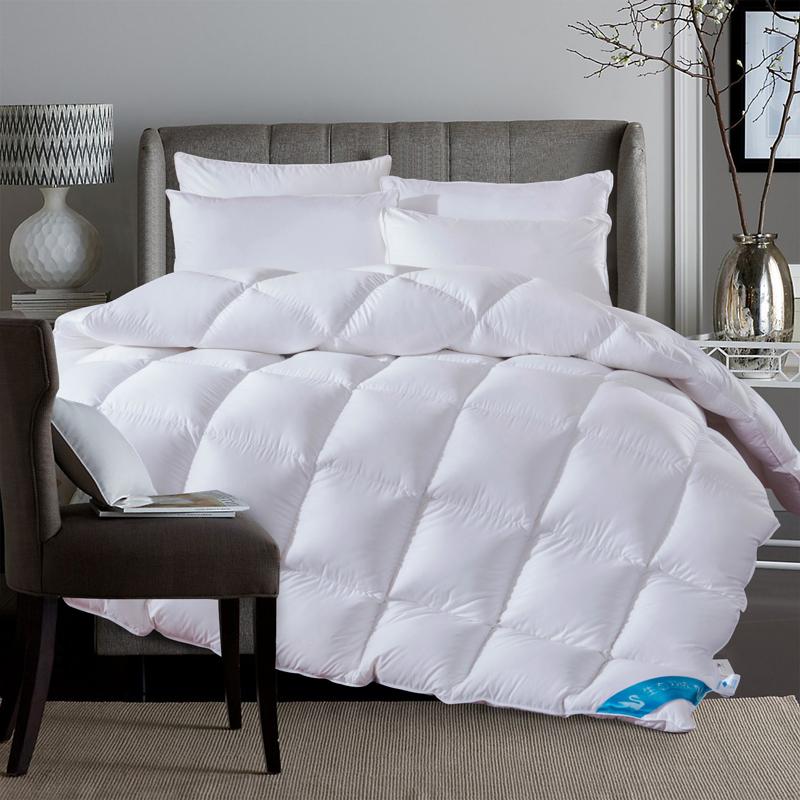 luxury white comforter 100 duck down king queen twin size quilt duvet winter autumn handwork. Black Bedroom Furniture Sets. Home Design Ideas