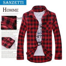 2014 new free shopping Men's Long Sleeved Flannel Casual Plaid Shirt Men Checkered Dress Shirts, Slim Stylish Fashion SANZETTI