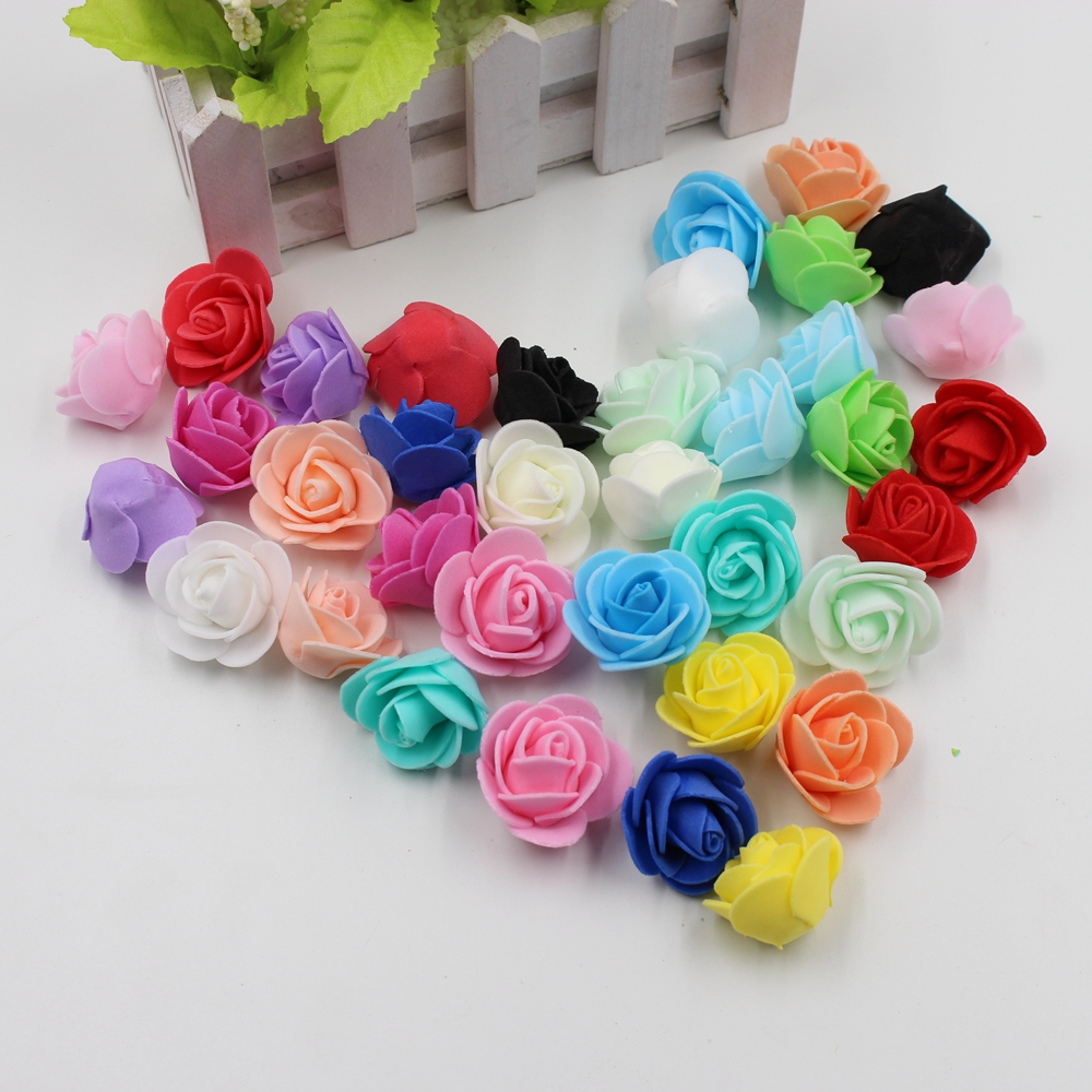 30pcs Mini PE Foam Rose Artificial Flowers For Wedding Car Decoration DIY Pompom Wreath Decorative Valentine's day Fake Flowers(China (Mainland))