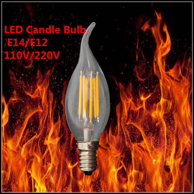 1X E14 E12 LED bulb candle lamp filament tungsten for crystal chandelier Light Incandscent Replace 4W 6W 9W 220V 110V LED light(China (Mainland))