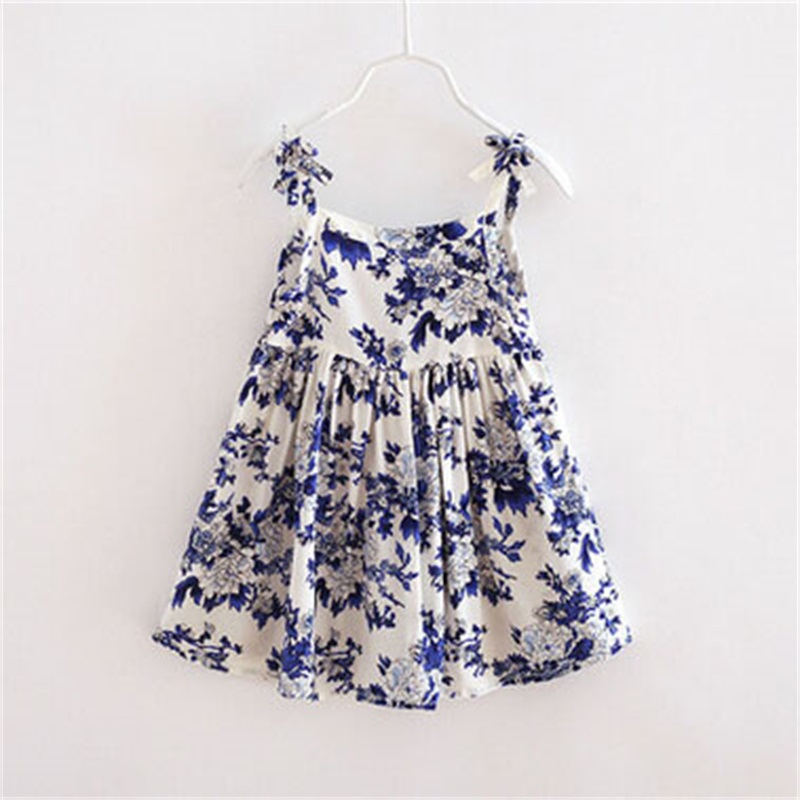 2016 Summer Hot Sell Baby Girl Dress Chinese Style Printed Pattern Girls Dresses Cotton Breathable Beach Style Children Clothing(China (Mainland))
