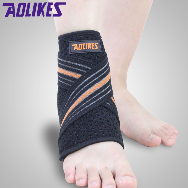 Hot sale Aolikes adjustable bandage Ankle Support wrap Strap Ankle Brace Pad Protection Guard Sport basketball volleyball tennis(China (Mainland))