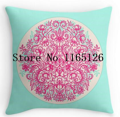 Hot sale Pillow cases Spring Arrangement floral doodle in pink mint two sides printing Square Zippered Pillowcase free shipping(China (Mainland))