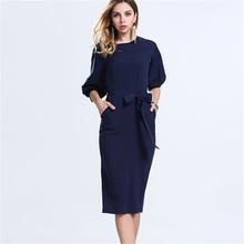 Elegant Women Chiffon Dress 2017 European New Fashion Autumn Plus Size Solid Midi Vestidos O-neck Slim Ladies Dresses 40738(China (Mainland))
