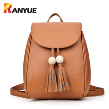 Buy Fashion Beading Tassel Women Backpack Teenager Girls SchoolBag PU Leather Shoulder Bags Small Black Ladies Backpack Mochila for $19.77 in AliExpress store
