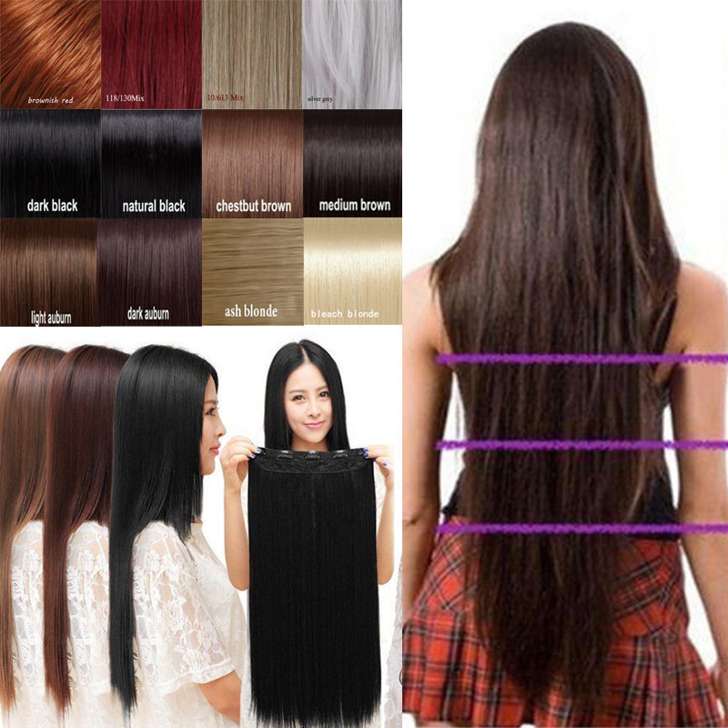 long straight clip in 3 4 full head hair extension 30inch 76 cm length black dark light brown. Black Bedroom Furniture Sets. Home Design Ideas
