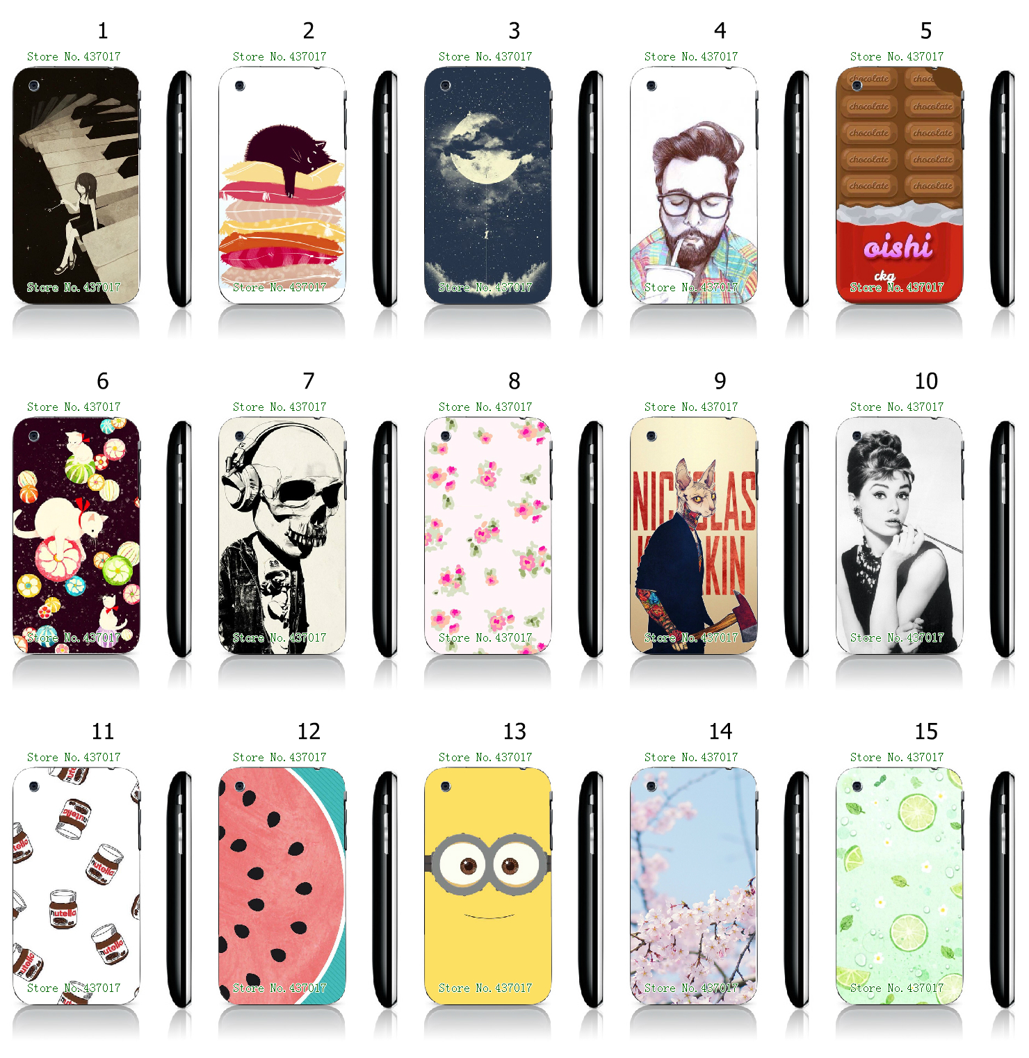 Cool Style Flower Fruit Designs White Hard Plastic Case Cover for iPhone 3 3GS(China (Mainland))