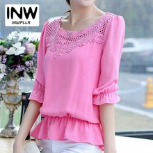 Buy Blusas 2017 Summer Hollow Chiffon Lace Blouse Shirts Plus Size O-neck Women Blouses Mujer Casual Tops Women Shirt for $11.80 in AliExpress store