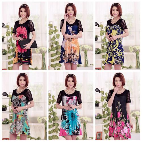 2015 New Arrival Spring Flower Pattern Plus Size Elegant O-Neck Short Sleeve Loose Women Dress LSQ01-LSQ010(China (Mainland))