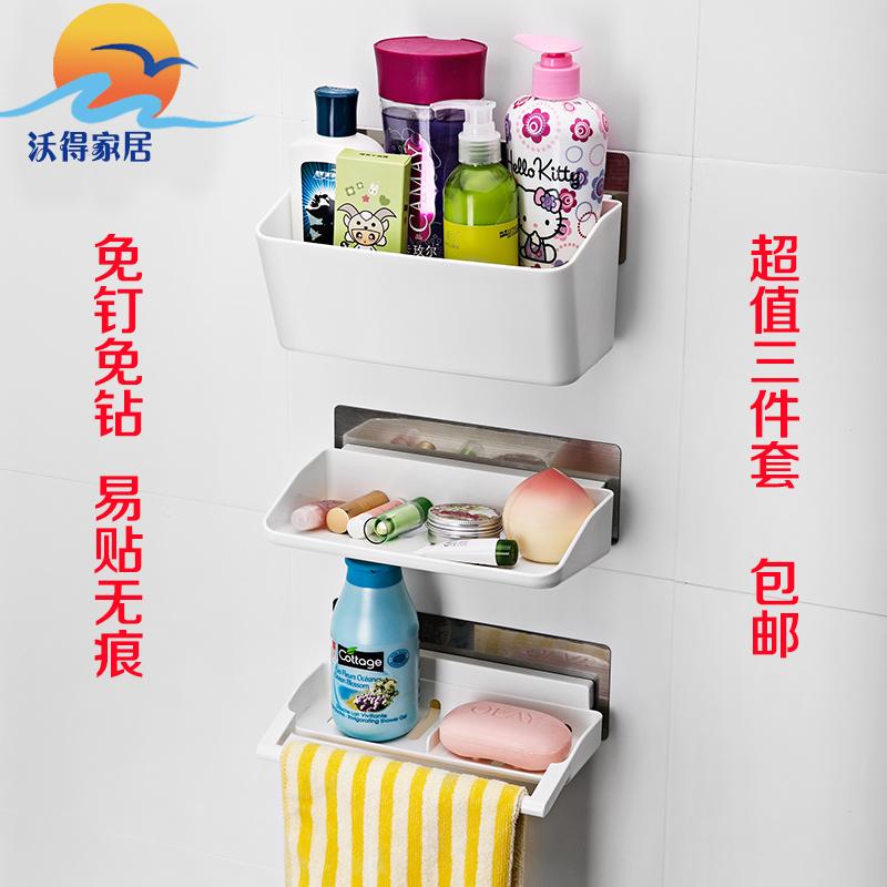 Фотография Shuangqing shelf bathroom wall strong suction cup storage rack shelf bathroom toiletries shelf 3 Bathroom Shelves