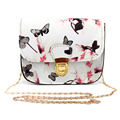 2017 Luxury Women Bags Brand Design Small Satchel Women bag Flower Butterfly Printed PU Leather Shoulder