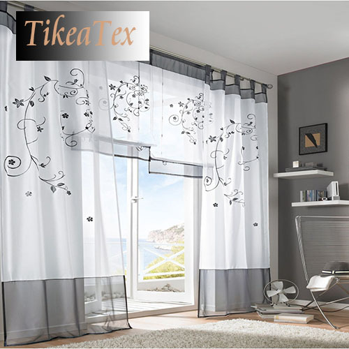 gauze curtains drapes picture more detailed picture about 1 pc modern fashion embroider white. Black Bedroom Furniture Sets. Home Design Ideas