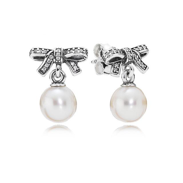 Нежные чувства белый жемчуг и ясно CZ серьги серьга стерлингового серебра 925 женские гипоаллергенные мода серьги DIY