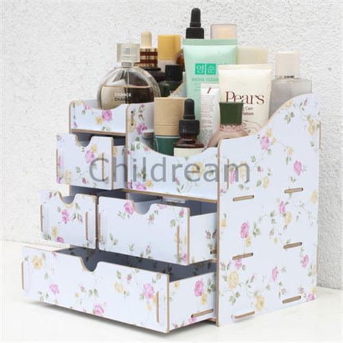 Creative Pastoral style desktop wood storage bins, cosmetics portable folding storage box, 4 layers Jewelry rack with drawer(Hong Kong)