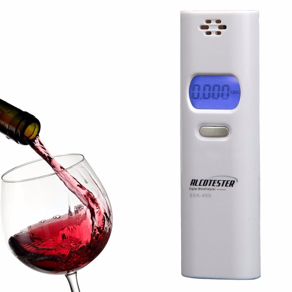 Low Power Portable Mini Breathalyzer with Blue Backlit Digital LCD Display Digital Breath Alcohol Tester Decetor Color White(China (Mainland))