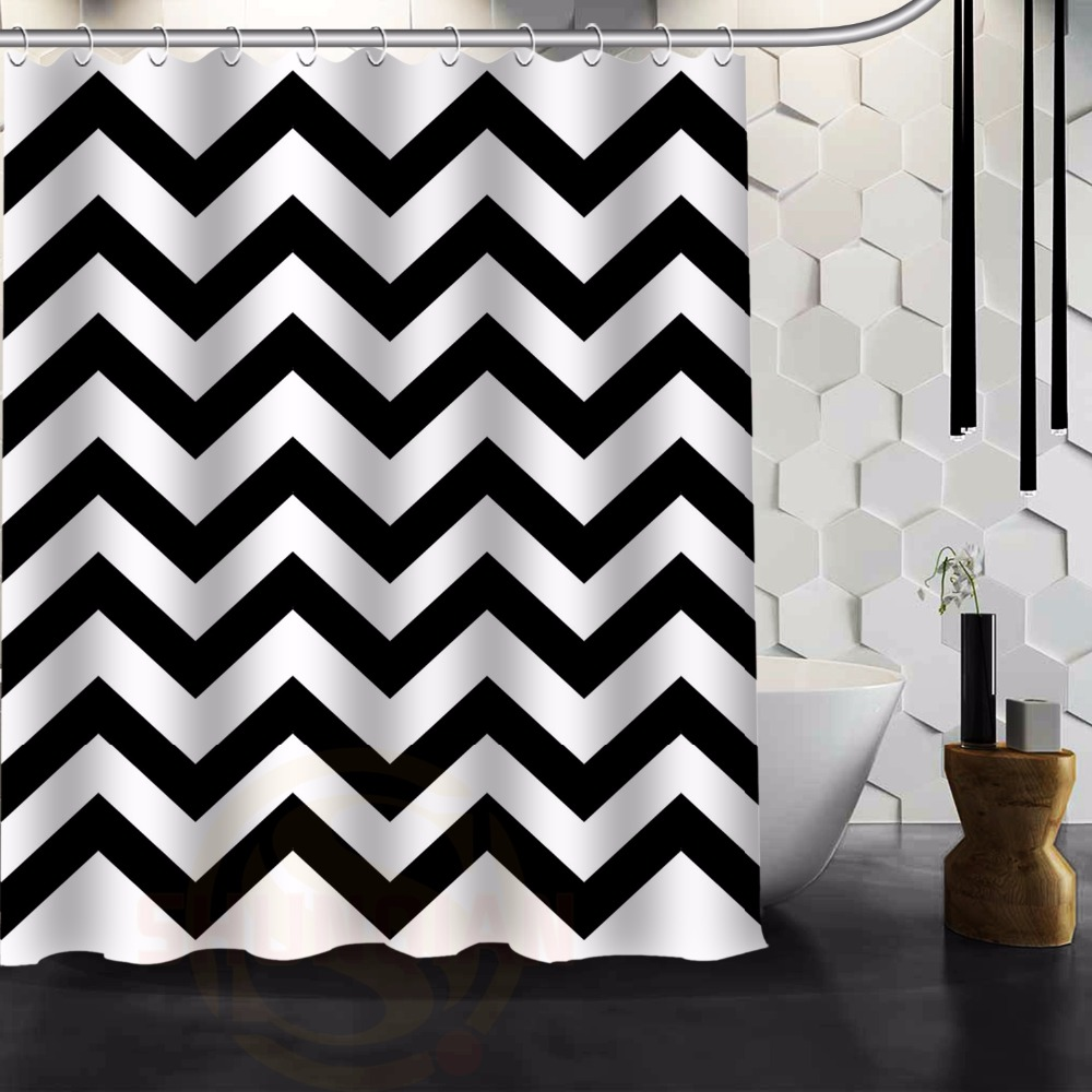 Fashion Zebra Stripe Black and white Bath curtain Shower curtains Polyester Waterproof Shower Curtain with plastic12 Hooks(China (Mainland))