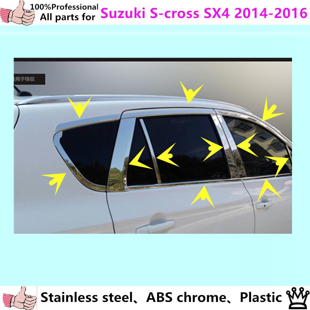 car body stick stainless steel glass window garnish pillar middle column strip trim panel for Suzuki S-cross SX4 2014 2015 2016(China (Mainland))