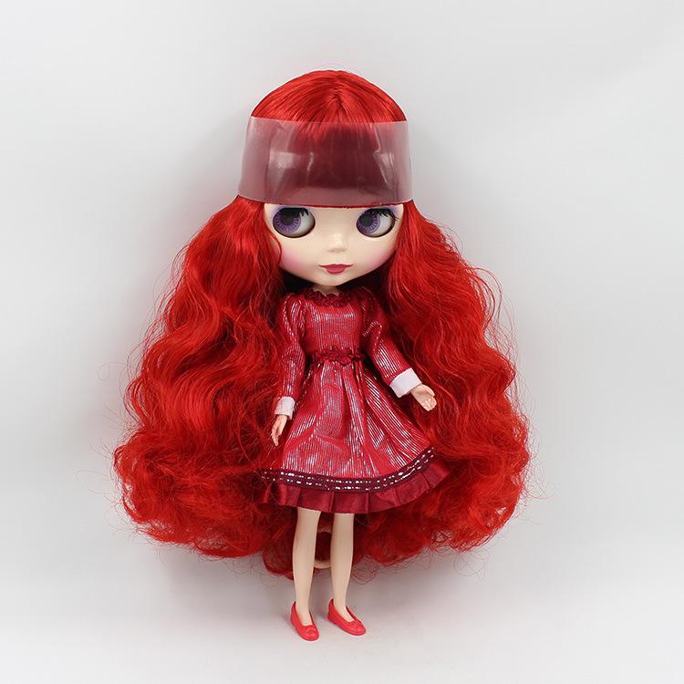 レッド ロング ヘア ブラ イス人形ヌード diy おもちゃ ファッション人形女の子の ため の ギフト