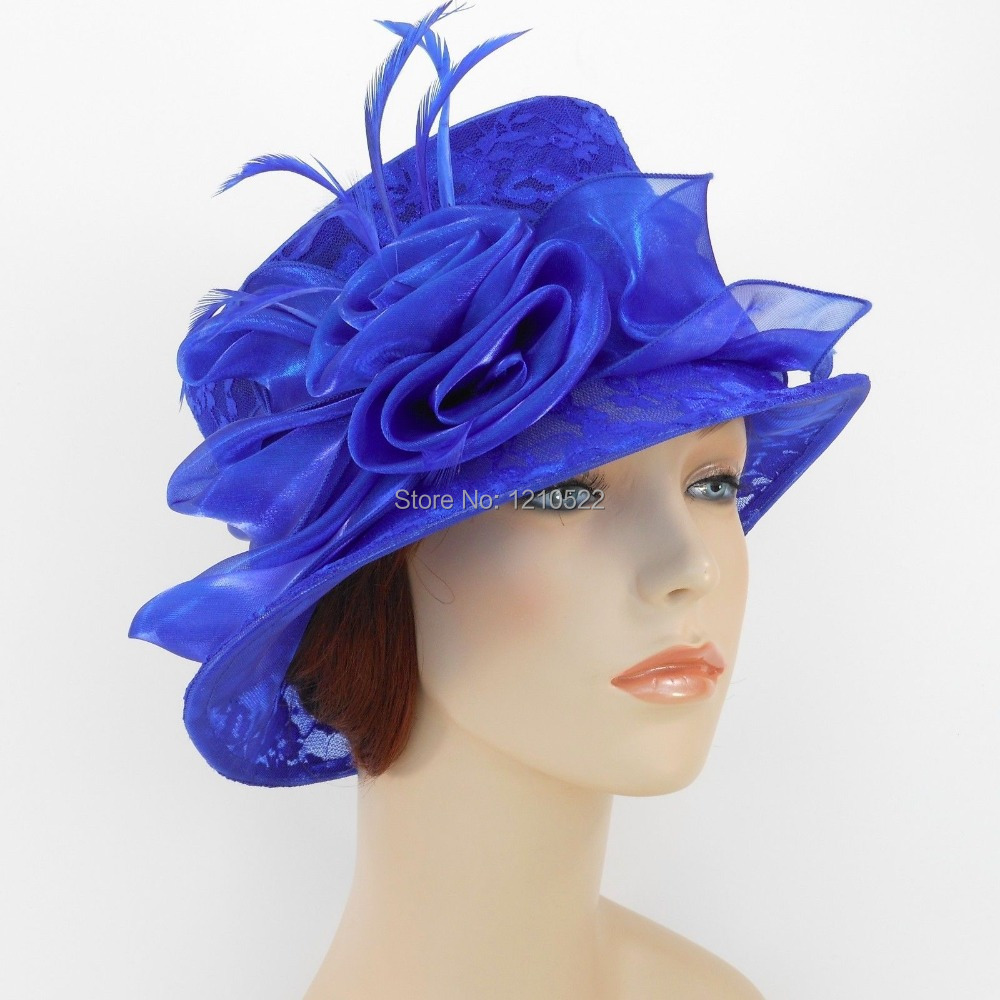 New Woman Church Hat Kentucky Derby Wedding Cocktail Party Hat Organza Lace Dress Hat 1687 Royal Blue(China (Mainland))