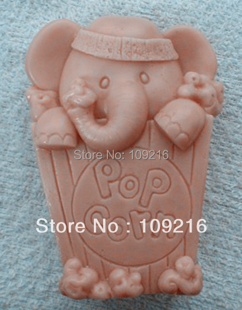 wholesale!!!1pcs Elephant & Pop Corn(ZX391) Silicone Handmade Soap Mold Crafts DIY Mold(China (Mainland))