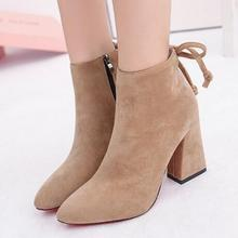 T9004 New thick high heel Women Boots Fashion Flock High-heeled Platform Ankle Boots Lace Up Autumn Shoes For Women Mujer Bota(China (Mainland))