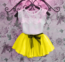 2016 New Girls Clothing Sets Dress + Short T shirt 2 Pcs Set Summer Kids Clothes Fashion Girls Clothes Knitted Children Clothing(China (Mainland))