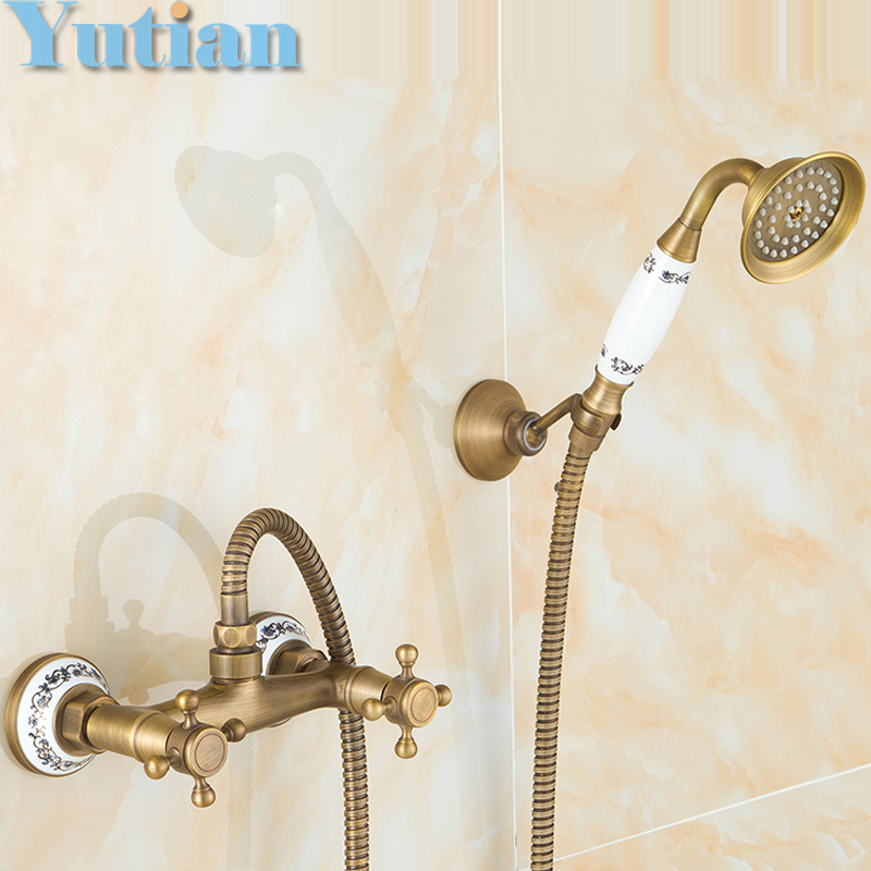 Free shipping Antique Brass Bathroom Bath Wall Mounted Hand Held Shower Head Kit Shower Faucet Sets YT-5347(China (Mainland))