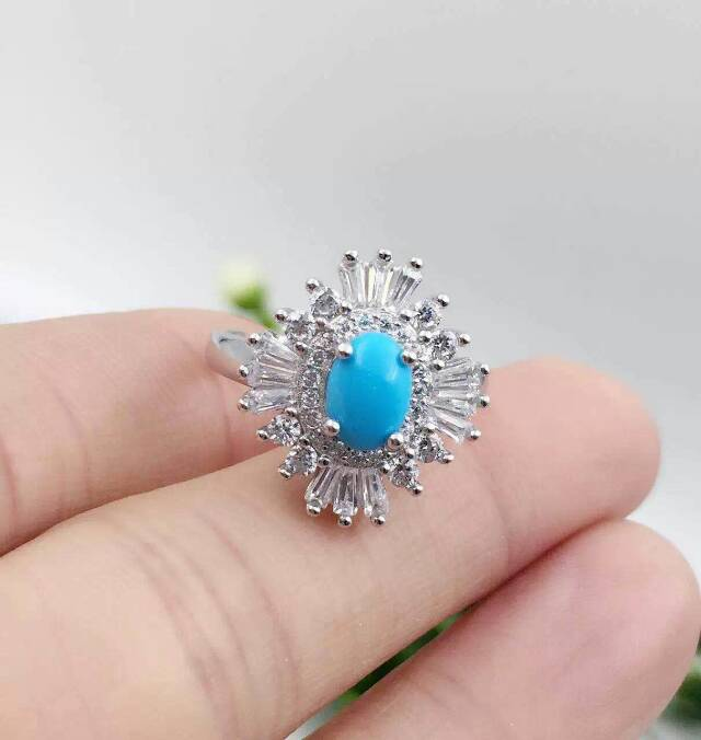 Fashion luxurious flower big natural green turquoise stone ring 925 sterling silver natural gem stone ring women party jewelry<br><br>Aliexpress