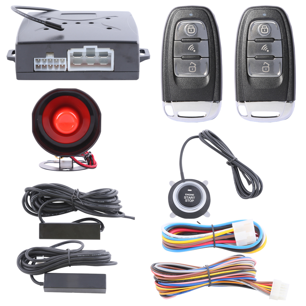 In Stock! universal Rolling code Smart key car alarm system PKE( passive keyless entry) remote engine start push start button(China (Mainland))