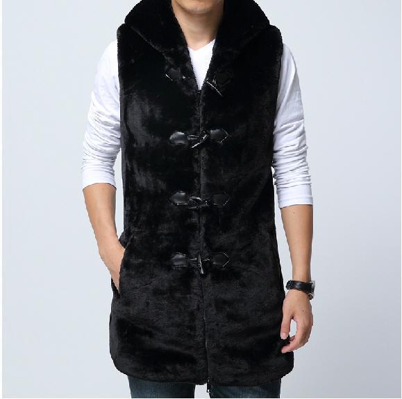 2014 New Fashion Faux Fur Vest Men,Men'S Hooded Mink Fur Outerwear & Coat,Plus Size Xxxl Autumn Winter Sleeveless Jackets A353(China (Mainland))