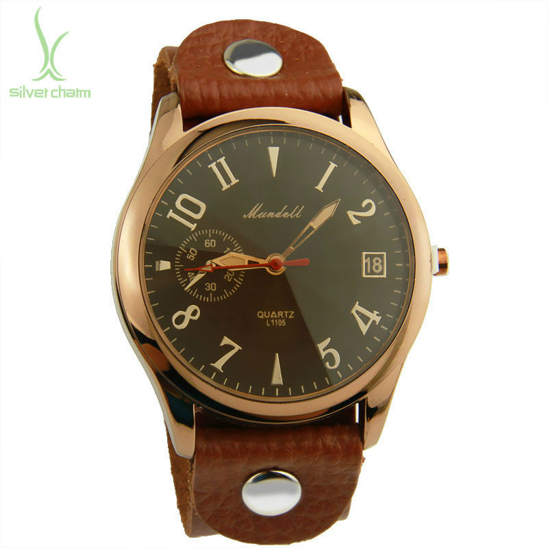 Alibaba Hot Sell Vintage Brown Leather Band Oversize Watch for Men Quartz Top Layer Unisex Wristwatch PI0543(China (Mainland))