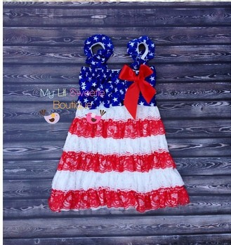 Hot sale summer kids&baby girls 4th Of July Lace Petti dress,toddler girls Patriotic lace dresses with ribbons on sale