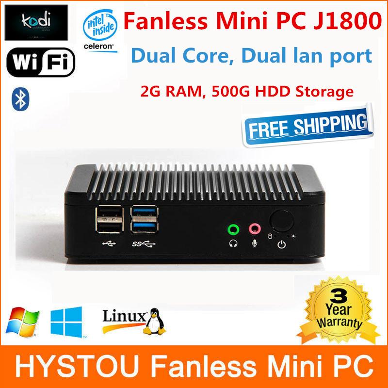 Low power Mini PC Intel Baytrail Dual Core 2.58GHz FMP10-J1800 2G RAM 500G HDD fanless mini pc 12v display(China (Mainland))