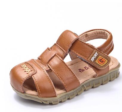 Дети сандалии мальчики обувь младенцы мягкий скольжение круто-устойчивых обувь свободного покроя пляж кожа сандалии