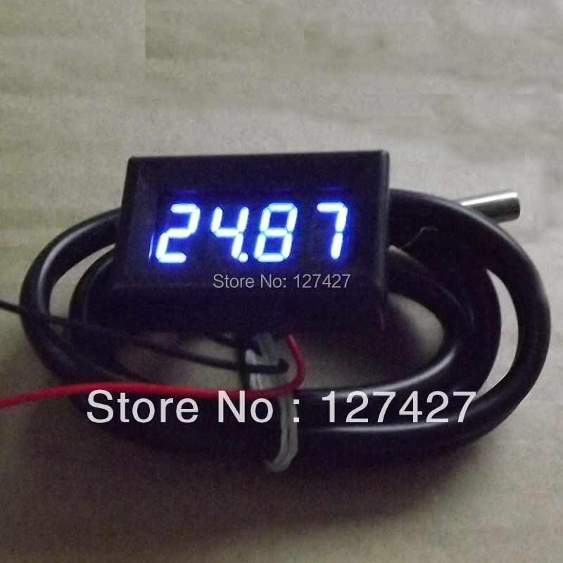 Mini BLUE 0.36 inch LED 4 Digital Car Thermometer Temperature Meter -55-125 W DS18B20 Sensor Free Registered Shipping - Electronics-DIY's store