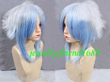 Wholesale& heat resistant LY free shipping>>New wig Cosplay Hiiro no Kakera Short White & Blue Mixed Wig