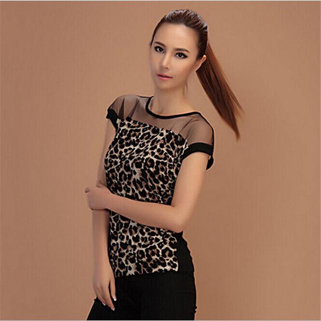 Горячие Продажа Лето Женщины Leopard Блузка Секси Дамы С Коротким Рукавом Blusas ...