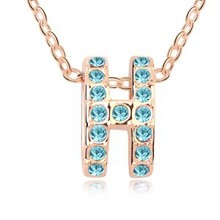 Women Sapphire Crystal Chain  H Letter Necklace Pendant Silver Plated Jewelry ,Xmas present !G030(China (Mainland))