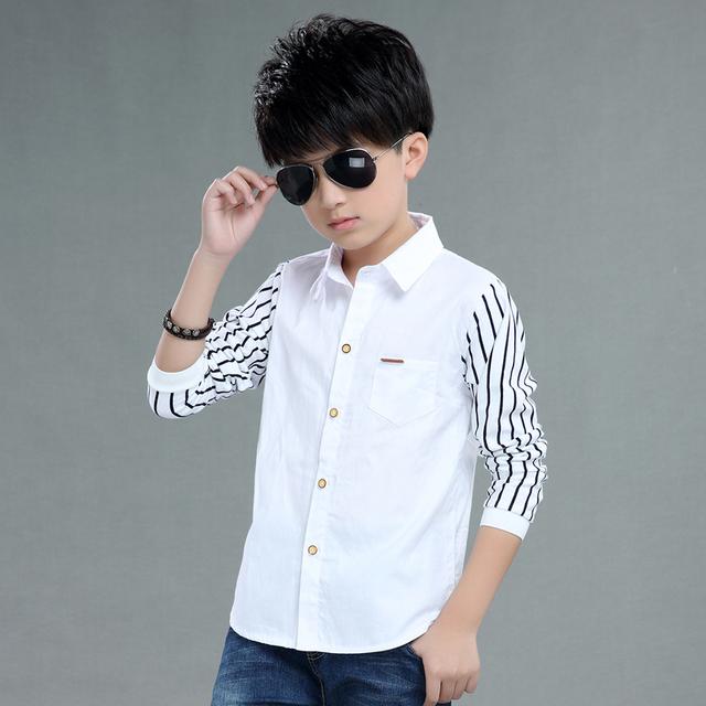 2016 осень детская одежда мальчиков рубашки в полоску с длинным рукавом отложным воротником мальчик рубашки для мальчиков большие дети причинные рубашки топы