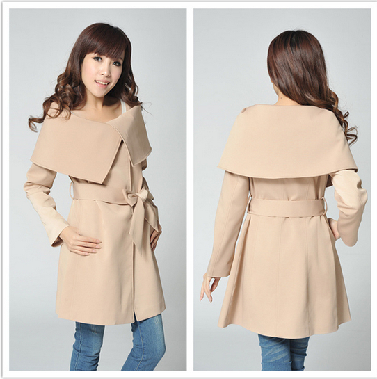 New autumn winter 2014 womens coats European style fashion casual trench coat slim fit thin overcoat female windbreaker WE707Одежда и ак�е��уары<br><br><br>Aliexpress