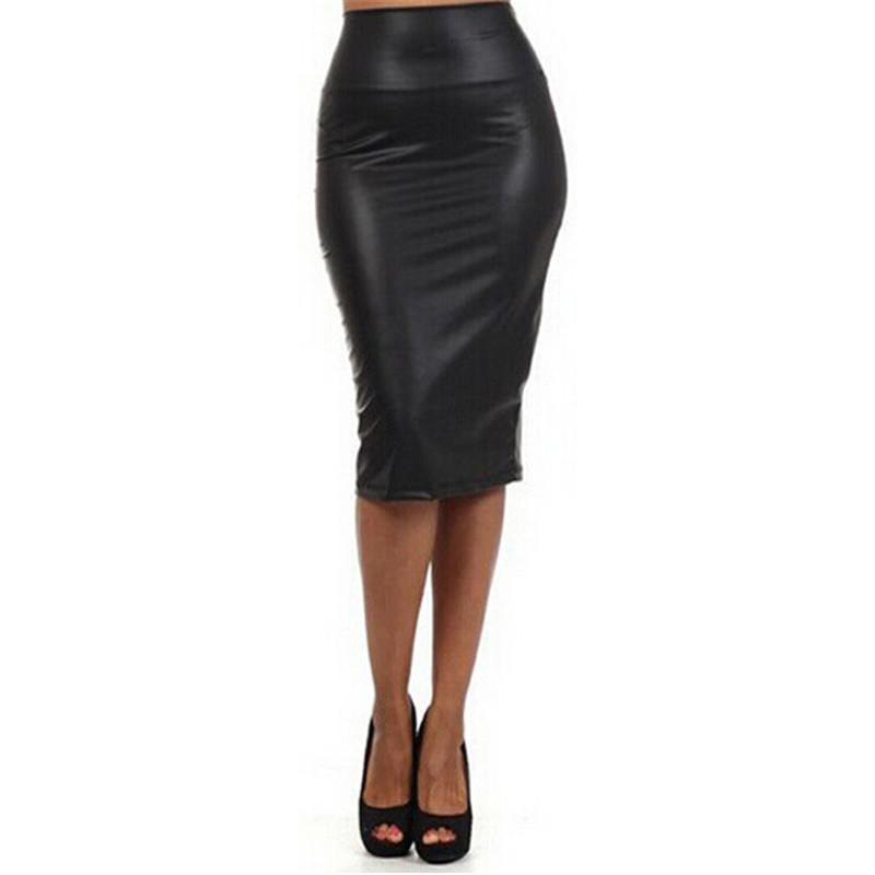 new faux leather pencil skirt high waist knee length midi