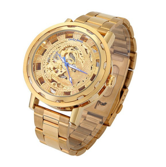 Men's Auto-Mechanical Skeleton Gold Dial Steel Band Wrist Watch Mechanical - Jewelry watches store
