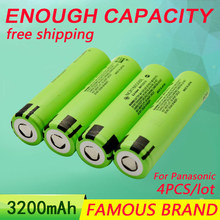 4Pcs/Lot 3.7V 3200Mah Original For Panasonic NCR18650BE Rechargeable Battery 18650 Batteries Wholesale Safe MADE IN JAPAN(China (Mainland))