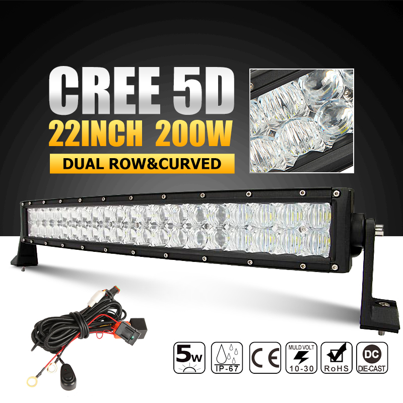 CREE 5D 22 inch 200W LED Light Bar Curved Led Work Light Bar Offroad Driving Lamp Combo Beam for 12v 24v Trucks ATV SUV 4WD 4x4(China (Mainland))