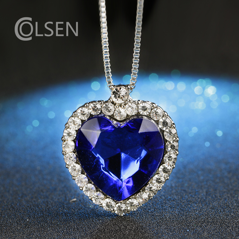 2017 New Heart Pendant Necklace Blue Ocean Heart New Shop Promo Necklace Female Fashion Accessories Girl(China (Mainland))