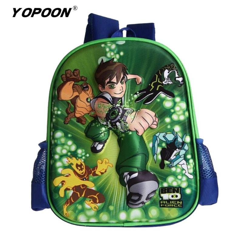 School Bag Ben 10 Dola Cars Spider-man 33cm*28cm*10cm Boys Girls Cartoon Preschool Children Kids Backpack Students School Bags(China (Mainland))